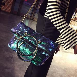 Sequins Metal Ring Crossbody Bag - Green