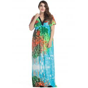 Plus Size Batwing Sleeve Long Bohemian Dress -