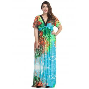 Plus Size Batwing Sleeve Long Bohemian Dress