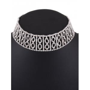 Hollow Out Rhinestone Infinity Choker Necklace