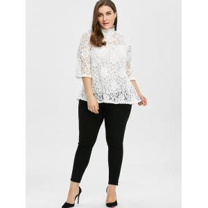 Plus Size Sheer Hollow Out Lace Blouse - WHITE 2XL