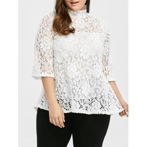 Plus Size Sheer Hollow Out Lace Blouse - White - 2xl