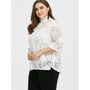 Plus Size Sheer Hollow Out Lace Blouse -