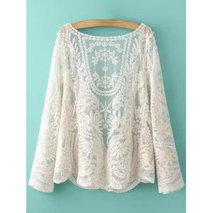 See-Through Leaves Pattern Lace Long Sleeve Blouse -