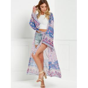 Collarless Wide Sleeve Printed Long Kimono Blouse - PURPLE ONE SIZE(FIT SIZE XS TO M)