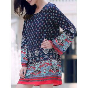 Casual Long Sleeve Printed Mini Shift Tunic Dress - Purplish Blue - S