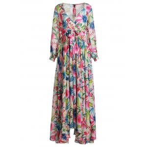 Plunging Neck Long Sleeve Tropical Maxi Dress - Colorful - L