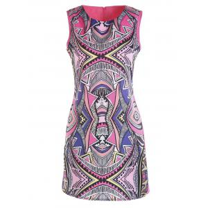 Jewel Neck Colorful Geometric Pattern Sleeveless Dress - S