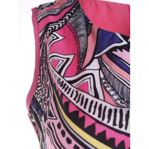 Jewel Neck Colorful Geometric Pattern Sleeveless Dress -