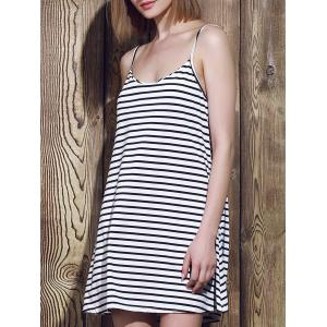 Spaghetti Strap Sleeveless A Line Stripe Dress - Blue And White - Xl