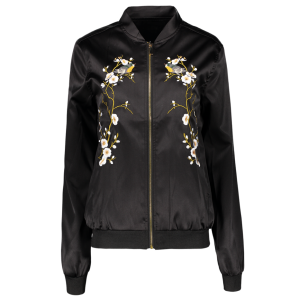 Chic Zip Up Embroidered Women's Baseball Jacket
