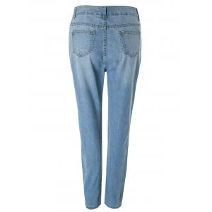 Fashionable Bleach Wash Wrapped Jeans For Women -