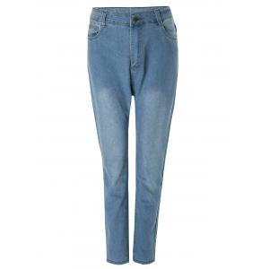 Fashionable Bleach Wash Wrapped Jeans For Women - Deep Blue - L