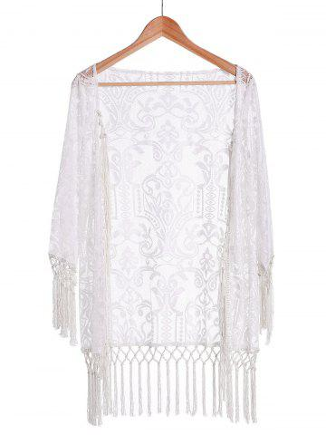 Fashion Long Sleeve Tassels Lace Sunscreen Kimono Cover Up Blouse WHITE M