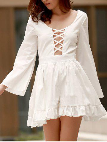 Best Scoop Neck Lace Up Cutout Long Sleeve Romper