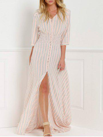 Unique V-Neck Stripe Slit Floor Length Maxi Shirt Dress