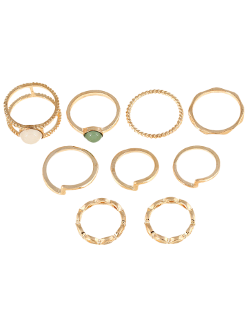 Cheap 9 PCS Gold Plated Faux Gemstone Rings GOLDEN