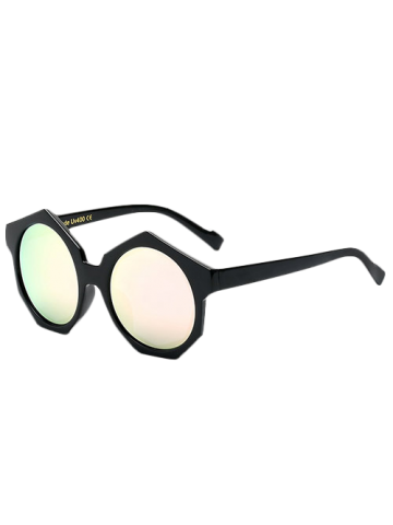 Outfit Modern Polygonal Frame Mirrored Sunglasses