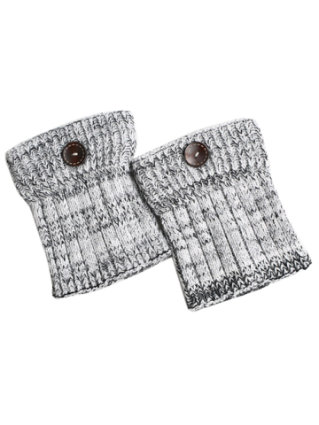 Fancy Warm Buttons Yoga Knit Boot Cuffs WHITE