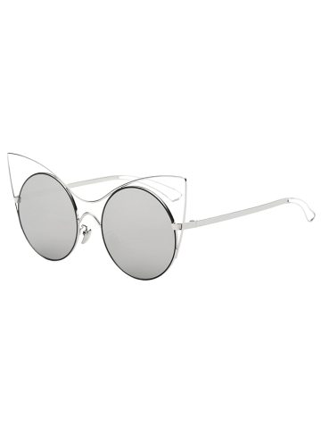 Cool Hollow Out Leg Cat Eye Mirror Sunglasses - Silver - 6xl