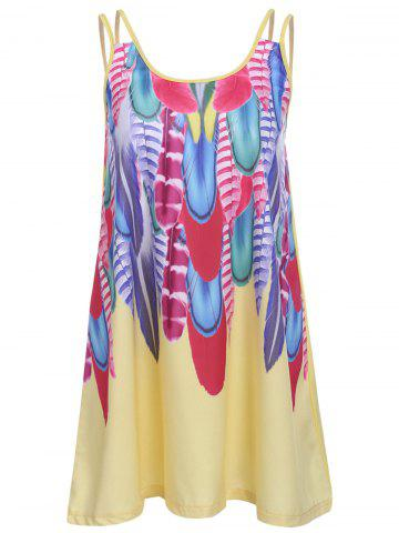 Cami Feather Print Dress - Yellow - S