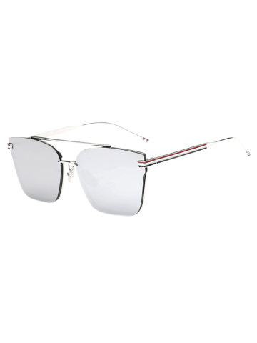 Outfit Travel Striped Metal Leg Square Mirrored Sunglasses SILVER