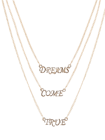 Store Three Layers Letter Pendant Necklace - GOLDEN  Mobile