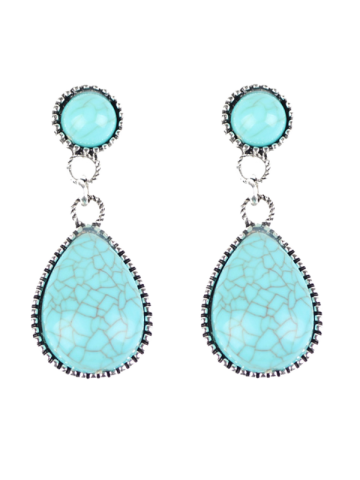 Sale Bohemian Artificial Turquoise Water Drop Earrings WINDSOR BLUE