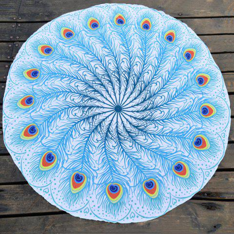 Peacock Feather Fan Plage ronde Throw Bleu TAILLE MOYENNE