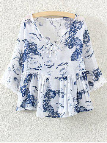 Store Lace Insert Skirted Floral Blouse