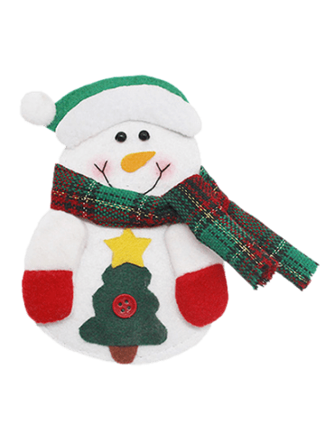 Sale Christmas Snowman Knives Forks Cover Bag Table Decoration - WHITE  Mobile