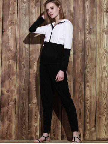 Affordable Color Block Zippered Hoodie and Running Pants - M BLACK Mobile