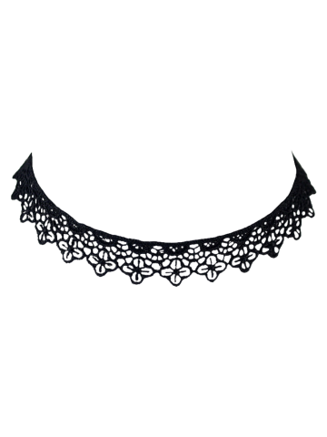 Cheap Concise Lace Floral Openwork Choker BLACK