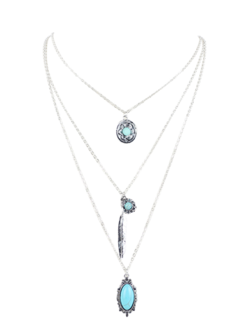 Affordable Bohemian Faux Turquoise Layered Pendant Necklace SILVER
