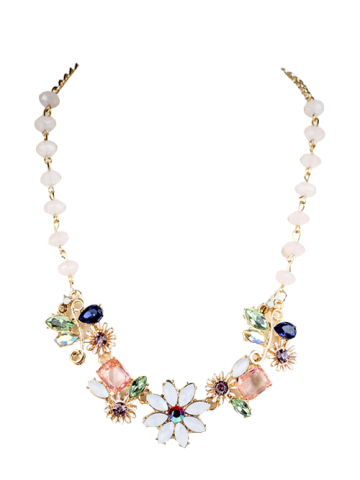 Hot Faux Crystal Flower Necklace - GOLDEN  Mobile