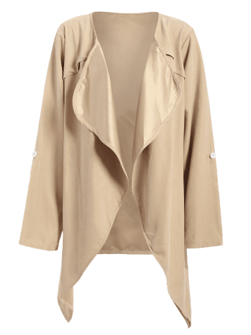 Outfits Drape Front Rolled Sleeve Coat - 2XL LIGHT KHAKI Mobile