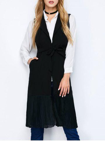 Hot Chiffon Panel Longline Vest with Pockets