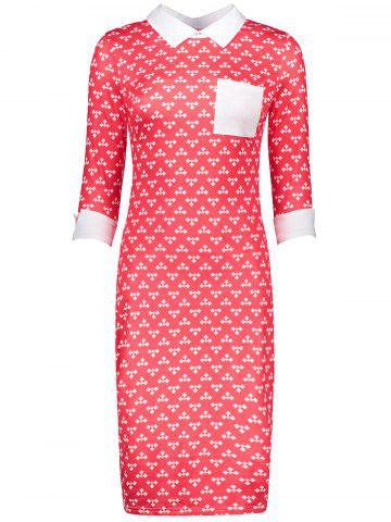 Store Retro Printed Front Pocket Sheath Dress - M RED Mobile