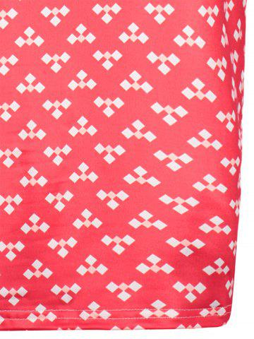 Discount Retro Printed Front Pocket Sheath Dress - M RED Mobile