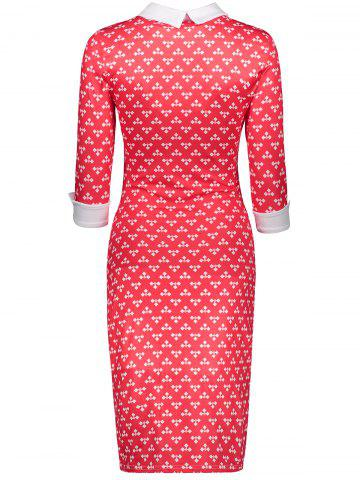 Sale Retro Printed Front Pocket Sheath Dress - S RED Mobile