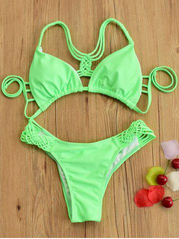 Hollow Out Lace Up Bikini Set - Neon Green - M