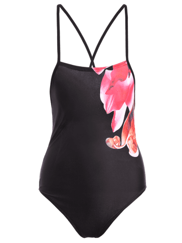 Shops Vintage Flower Printed Back Criss-Cross One-Piece Swimwear For Women - 2XL BLACK Mobile