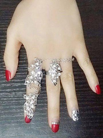 Outfits Rhinestone Foliage Full Index Finger Ring - ONE-SIZE SILVER Mobile