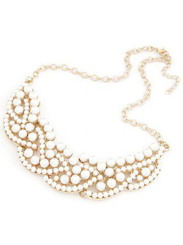 Online Chic Faux Pearl Hollow Out Statement Necklace
