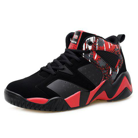 Shops Breathable Faux Leather Athletic Shoes - 42 RED WITH BLACK Mobile