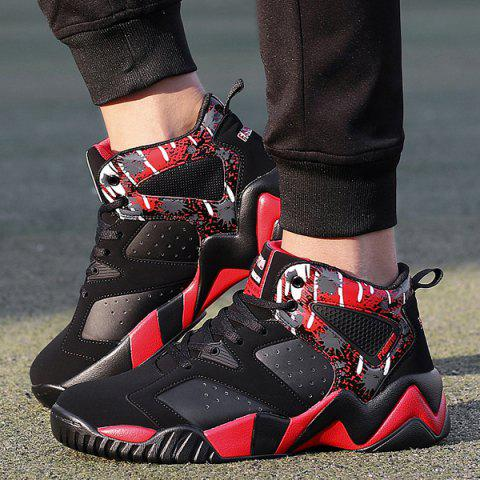 Chic Breathable Faux Leather Athletic Shoes - 42 RED WITH BLACK Mobile