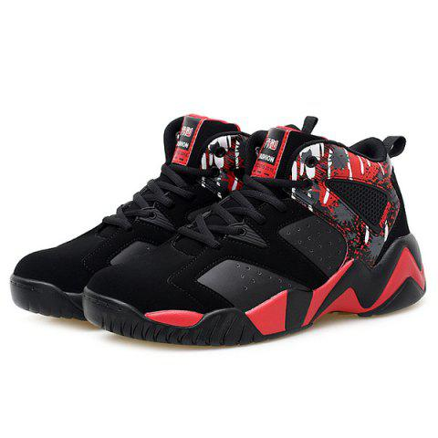 Fashion Breathable Faux Leather Athletic Shoes - 42 RED WITH BLACK Mobile
