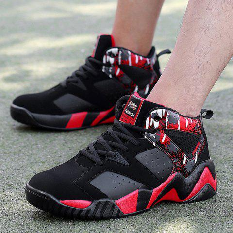 Discount Breathable Faux Leather Athletic Shoes - 42 RED WITH BLACK Mobile