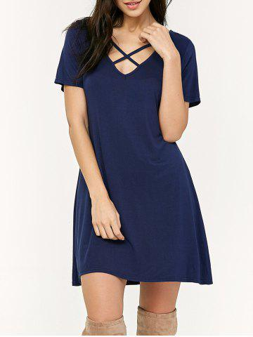 Loose Criss Cross Swing T-Shirt Casual Dress With Sleeves - Deep Blue - S