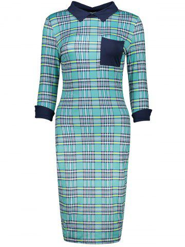 Fashion Retro Flat Collar Gingham Sheath Dress